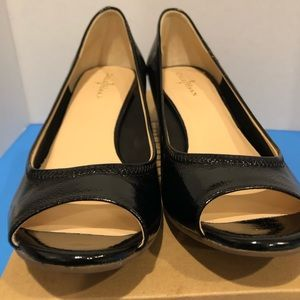 New Cole Haan Air Tallot Black Open Toe Wedges